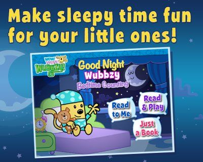 Good Night Wubbzy Bedtime Counting is a 5-star #kidsapp that teaches telling time and counting through play #topkidsapps