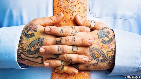 If can, hide for a job interview.  @TheEconomist: Tattoos are growing more popular in America, though few employers are keen. Once the preserve of prisoners, sailors and circus freaks, tattoos have become a benign rite of passage for many Americans. One in five adults has one, and two in five thirty-somethings. These days women with tattoos outnumber men. But what happens when these people look for work?