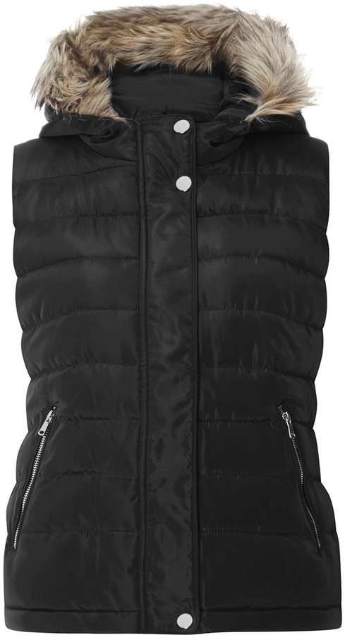 Black Faux Fur Hood Padded Gilet