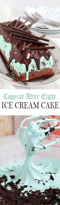 After Eight Mint Ice cream cake with chocolate glaze and chocolate flakes inside Recipe ~ After Eight Mint Eiscreme mit Schokolade und Schokosplittern Rezept