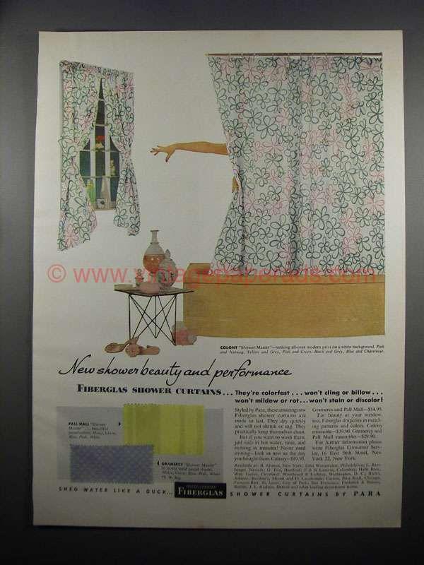 Bighh0408 1953 Owens Corning Fiberglas Shower Curtains Ad Curtains Shower Curtain Corning
