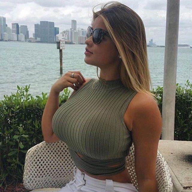 Big Tits Blonde Wearing Tight Top | Busty Shots
