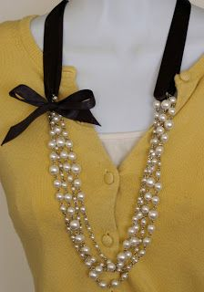 """""""Perk up an old necklace by adding a ribbon to it. Click the photo for the how-tos.""""--thrift store pearl necklaces and add ribbons for BM's."""