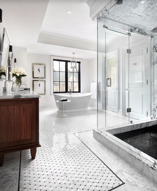 White Marble Bathroom Tile: Traditional Master Bathroom With Carrara White 2 Inch