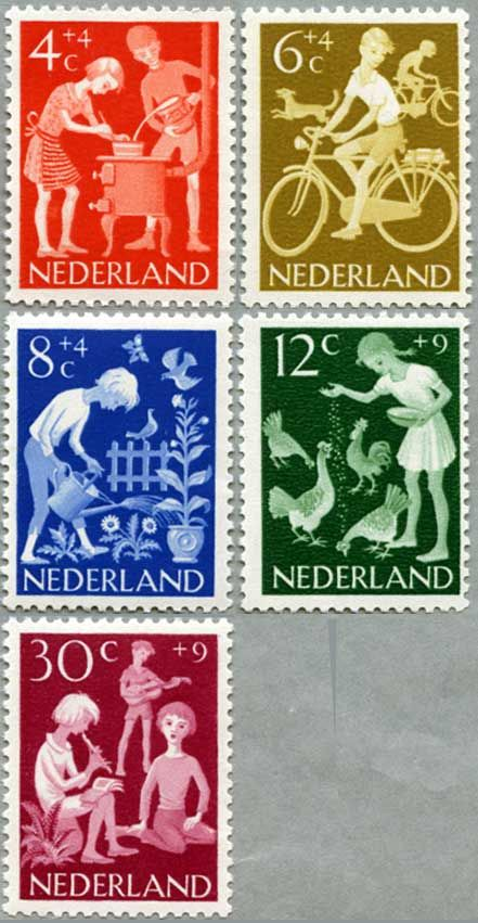 Series of 5 postage stamps from Holland circa 1962