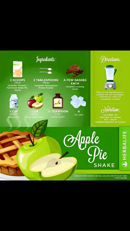 Apple pie Herbalife shake recipe, yum! http://www.goherbalife.com/paulineassisteert/nl-NL