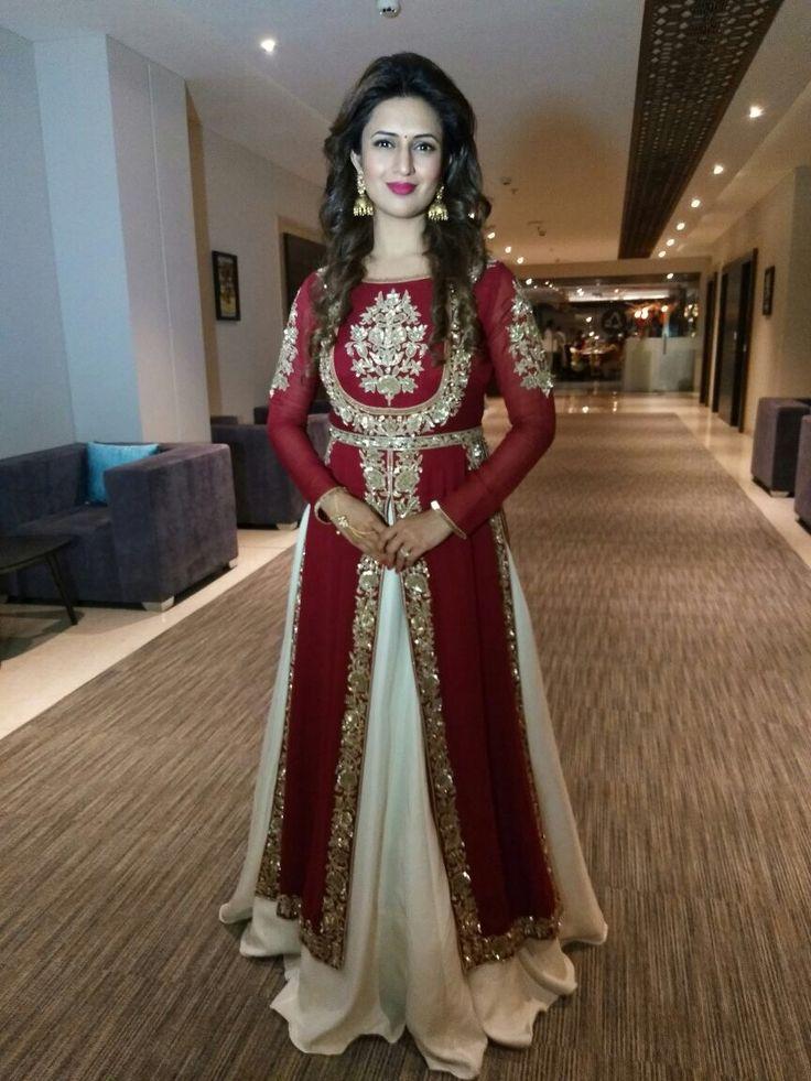Red kurti with white lehenga. Festive wear