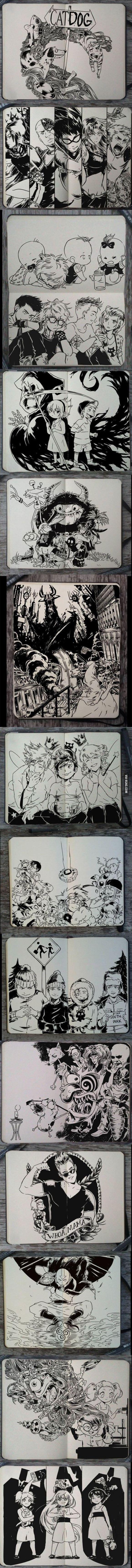 Manga style cartoons.