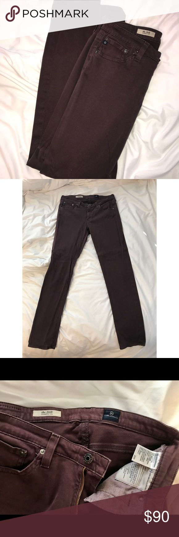 "AG Adriano Goldschmeid Cigarette Leg Plum Jeans 29 AG Adriano Goldschmeid ""The Stilt"" Cigarette Leg Plum Jeans 29: Deep plum colored skinny jeans Size 29, 80% Cotton, 15% Rayon, 5% Polyurethane; machine wash and dry  Perfect for fall, hardly worn, beautiful jeans! Ag Adriano Goldschmied Jeans Skinny"