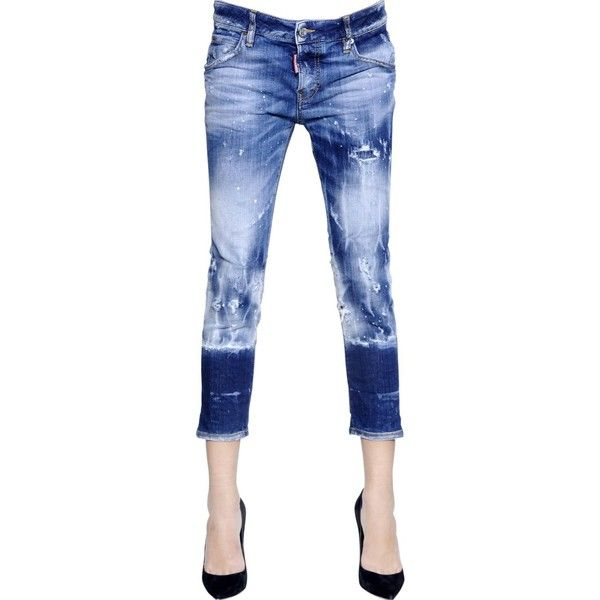 Dsquared2 Women Glam Rock Acid Wash Stretch Denim Jeans ($415) ❤ liked on Polyvore featuring jeans, dsquared2 jeans, white distressed jeans, acid jeans, polka dot jeans and white torn jeans