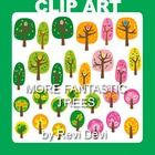 "This clip art set features trees in green, pink, and yellow. You will get 28 graphics.  Image Size (pls see pic with numbers) no. 1: approx.4 X 5"" ..."