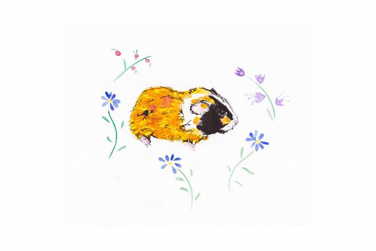Excited to share the latest addition to my #etsy shop: GP is here! #Guineapigart. #Guineapig with #flowers #art. http://etsy.me/2AXZgXF #art #theinkycreatures