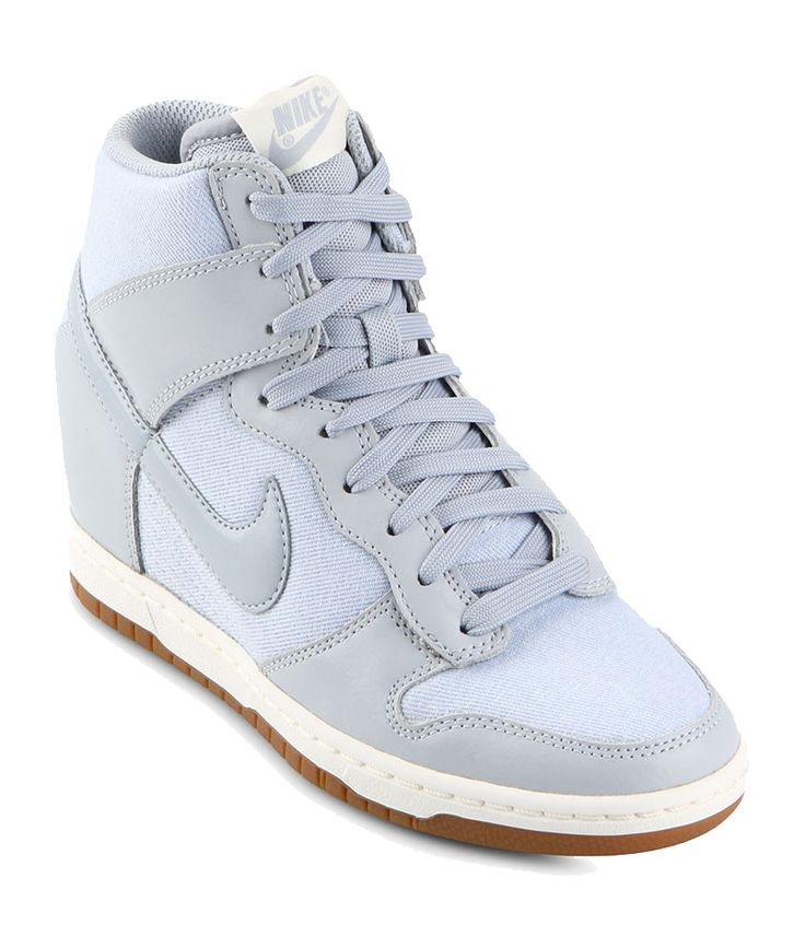Womens Dunk Sky Hi Essential by Nike. Be true to your school colors, to your school of thought. That's been the ethos driving the Nike Dunk since it launched in 1985. These grey sneaker wedges look sporty but feminine.  http://zocko.it/LDsxJ