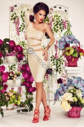 Resim 1 - çıplak parlak kesikler Rn 589 ile Lycra elbise