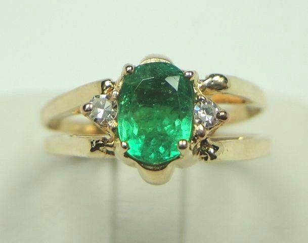 Colombian Emerald Reversible Ring 1.20 Ct Oval Shape 18K Gold Size 7.5 Fine Muzo #CiCeRi #EngagementRing #AnniversaryWedding
