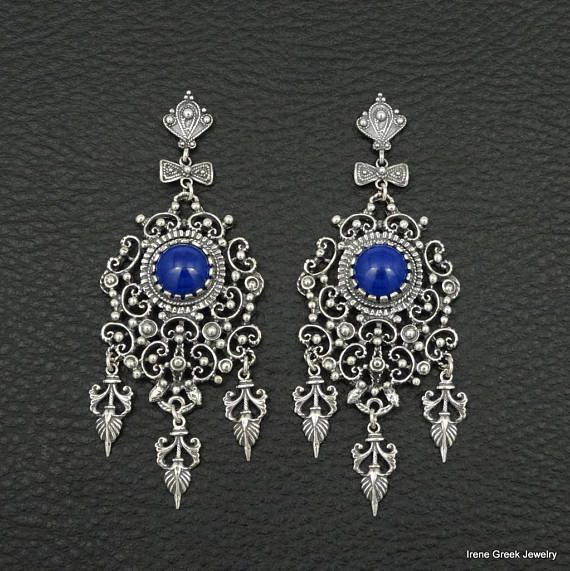 Natural Lapis Earrings Filigree Style 925 Sterling Silver