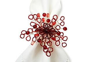 Set of 6 Flora Beaded Napkin Rings, Red