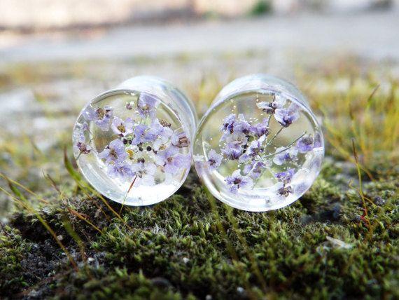 Echte bloem stekkers gauge oorbellen oor tunnels 00 meters