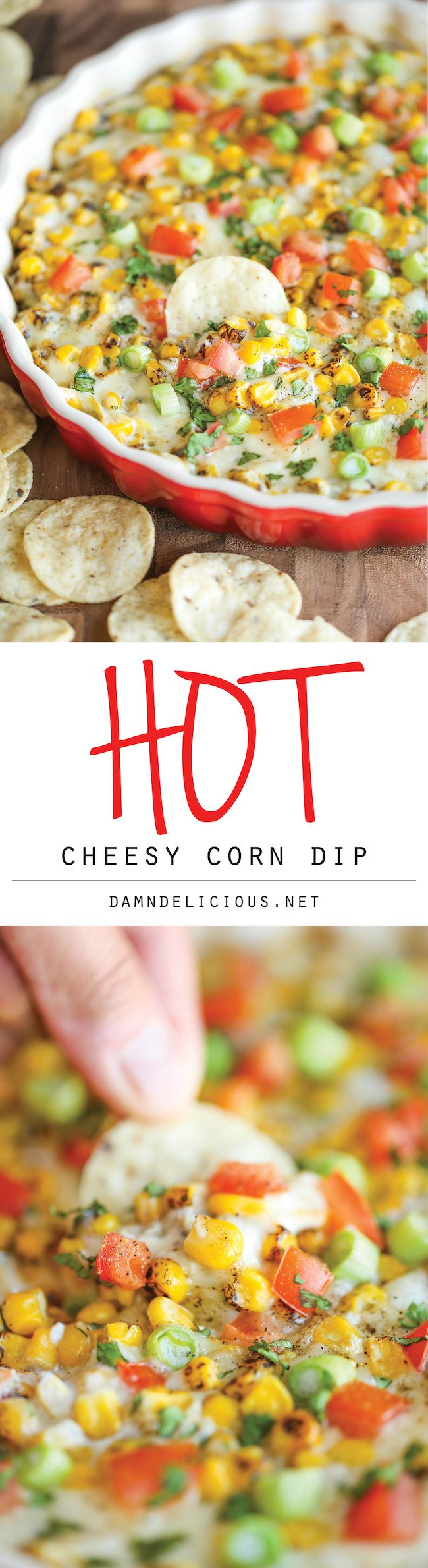 "Hot Cheesy Corn Dip - A super easy and amazingly creamy corn dip that comes together with just 10 min prep. And it's even made ""skinny"" with Greek yogurt!"