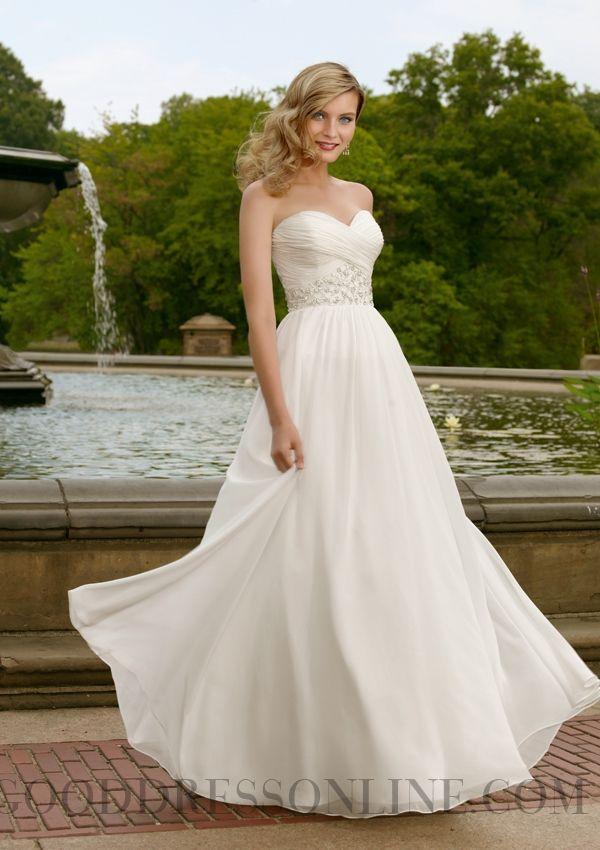 Beading A-line Sweetheart Floor-length Chiffon Wedding Dresses