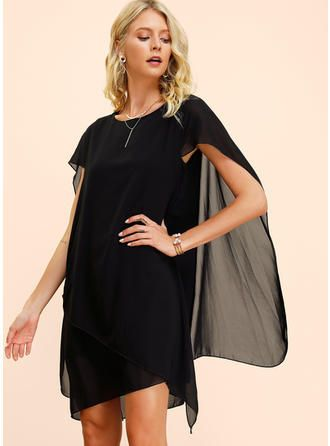 VERYVOGA Solid Short Sleeves Shift Knee Length Little Black/Party/Elegant Dresses 3
