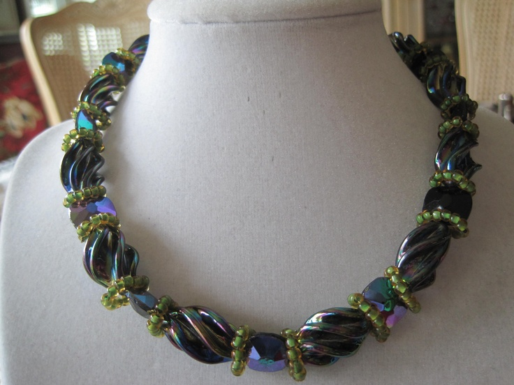Hobe Purple Green Art Glass Necklace Earrings by VintagObsessions. $85.00, via Etsy.