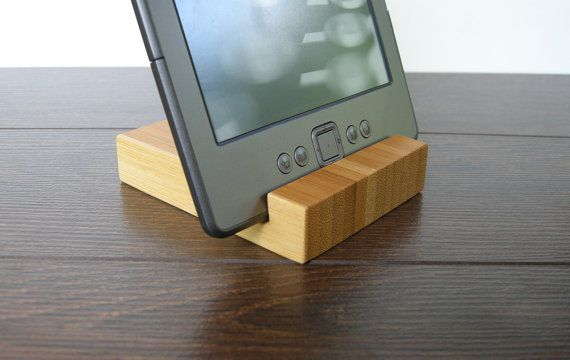 wood iPad stand. iPhone Stand. Chocolate. Bamboo Dock by Magowood