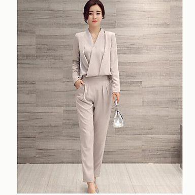 Feminino+Conjunto+Calça+Suits+Formal+/+Trabalho+/+Informal+Simples+/+Moda+de+Rua+Outono+/+Inverno,Sólido+Colorido+Algodão+Decote+VManga+–+BRL+R$+411,18
