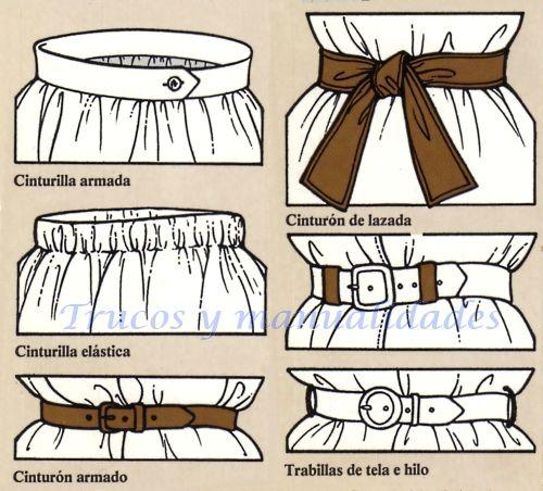 El acabado más sencillo para faldas y pantalones es la cinturilla. Cinturilla armada, cinturilla elástica, cinturón de lazada, cinturón armado, hebillas y