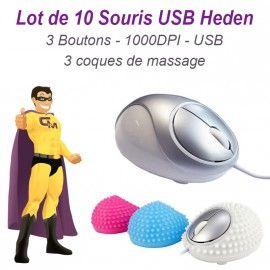 Lot 10x Souris Optique Filaire Heden Sanse Massage 3 Boutons 1000DPI USB Pc Mac