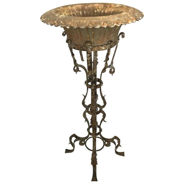 Rare Antique Iron French Planter | From a unique collection of antique and modern planters and jardinieres at https://www.1stdibs.com/furniture/building-garden/planters-jardinieres/