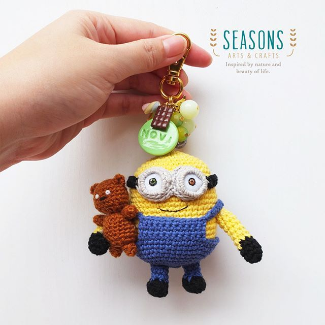And here the #minionbob #amigurumi with his #teddybear Thanks for adopting this!  #minion #miniondoll #customorder…