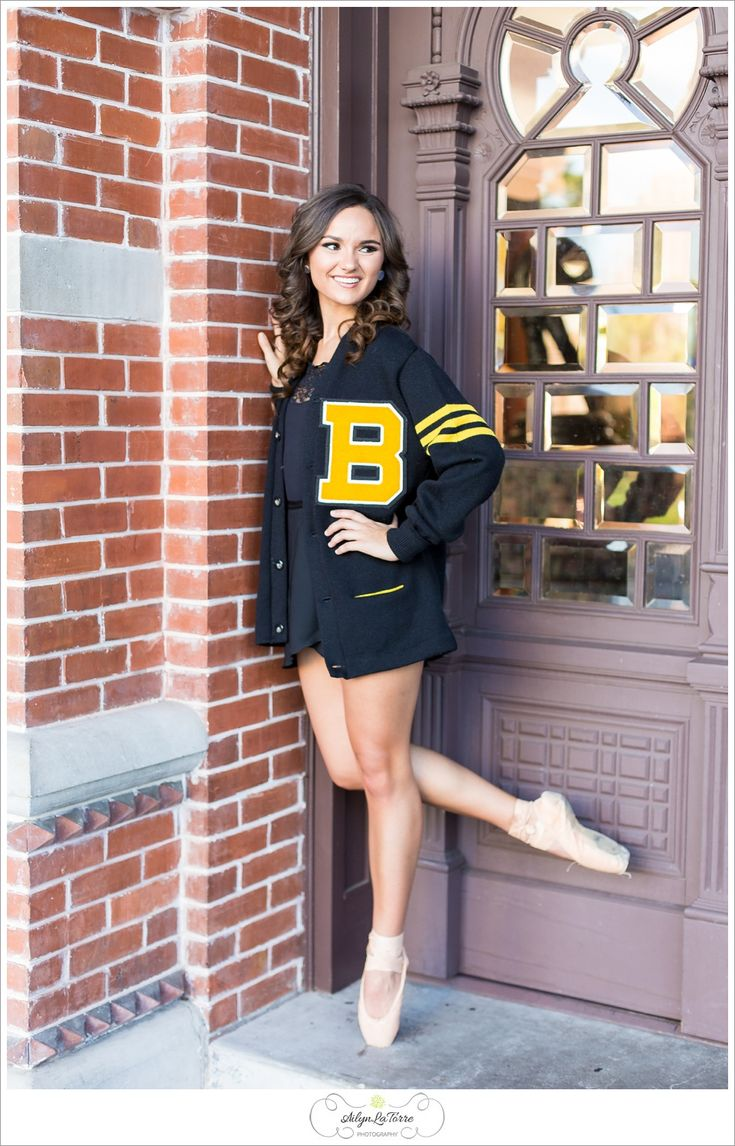 Senior Portrait / Photo / Picture Idea - Girls - Dance / Dancer - Ballet / Ballerina - Letter Sweater