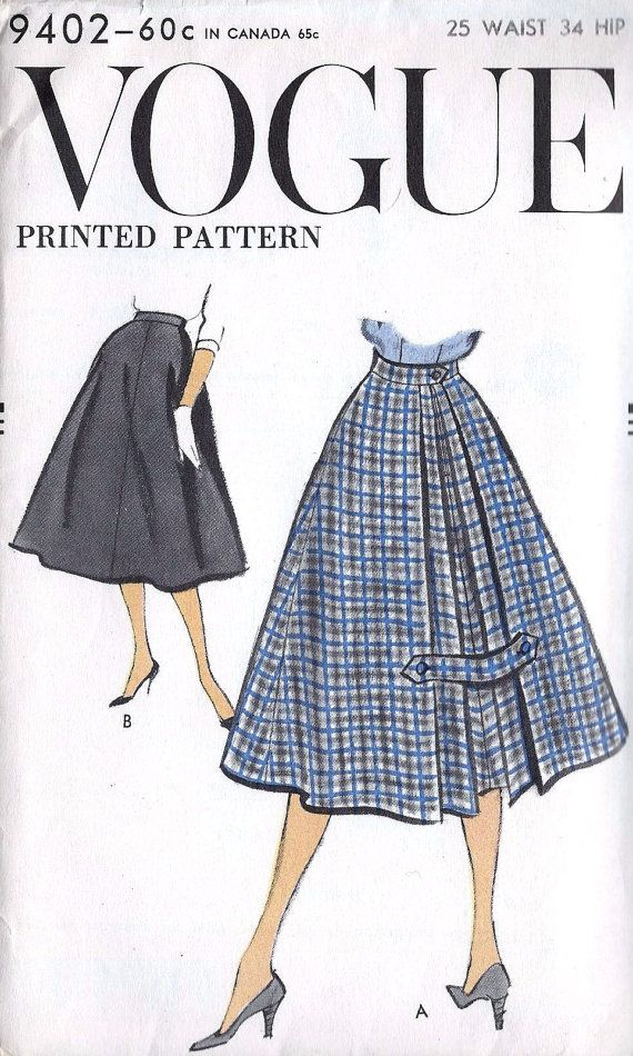 1950s Skirt With Inverted Pleat Pattern via Etsy.
