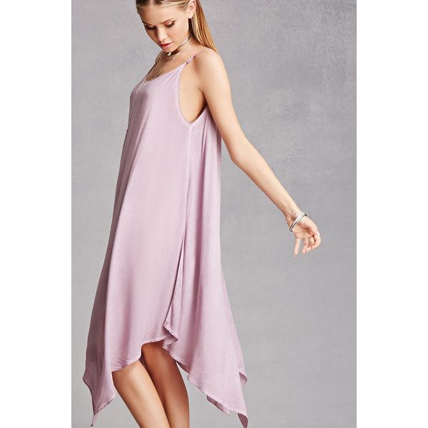 Forever21 Faded Handkerchief Hem Dress ($45) ❤ liked on Polyvore featuring dresses, mauve, pink camisole, camisole dress, forever 21 dresses, pink cami and pink dress