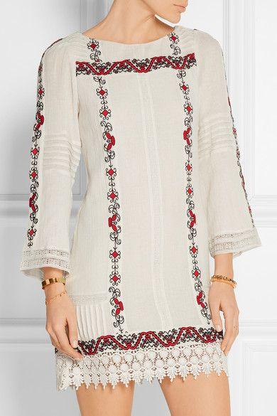 Alice + Olivia | Riska embroidered cotton-gauze mini dress | NET-A-PORTER.COM