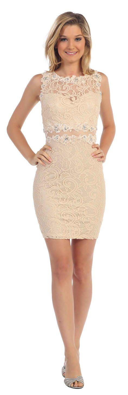 Short Formal Cocktail Lace Dress Sheer Waist