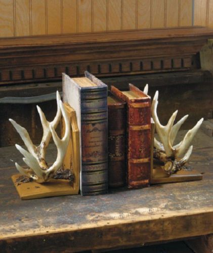Deer-Antler-Bookends-Wildlife-Cabin-Lodge-Rustic-Hunting-Home-Decor-Book-Ends