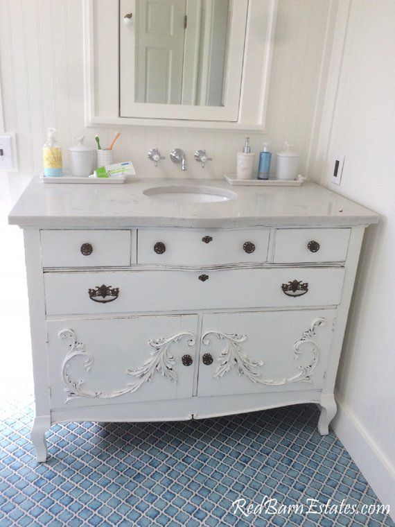 Bathroom Vanity Custom Converted To Order From Antique Dresser Painted Bathroom Vanities Shabby Chic Farmhouse Painted Vanity Bathroom Shabby Chic Bathroom Antique Bathroom Vanity