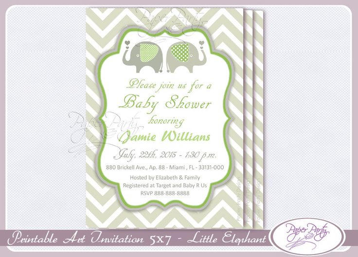 Baby Shower Invitation Elephant Green Baby Shower Invitation Boy Baby Shower Invitations Invites - Free Thank You Card Customized by PaperPartyDesignUS on Etsy