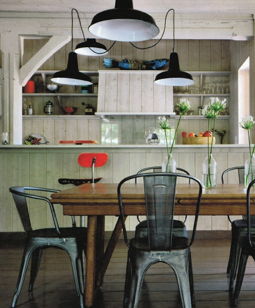 Rustic Open Kitchen: Factory Lights In A Rustic Kitchen And Dining Room From