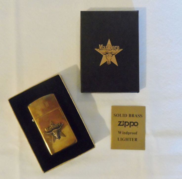 Zippo Slim Vintage Marlboro Longhorn Steer & Star Brass Cigarette Lighter RARE