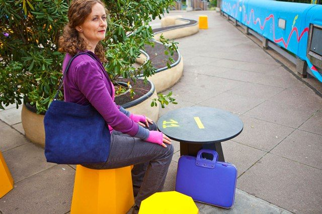 Camberwell bag in deep violet and blue suede handbag, candy pink cashmere wristwarmers
