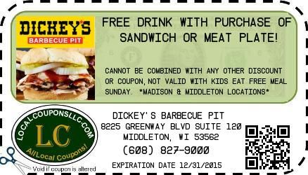 Coupon in Middleton WI for Dickey's Barbecue Pit from Local Coupons LLC.