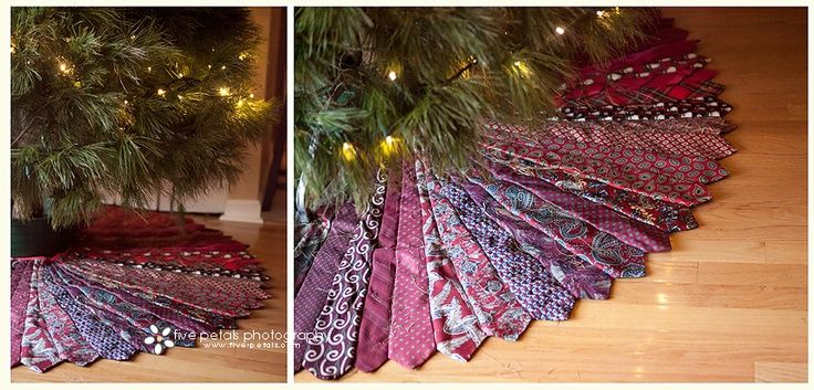 how to make a christmas tree skirt from neckties