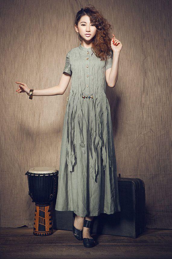 Maxi abito di lino con nappe a pieghe / lungo abito abito di lino in celadon on Etsy, 65,90€