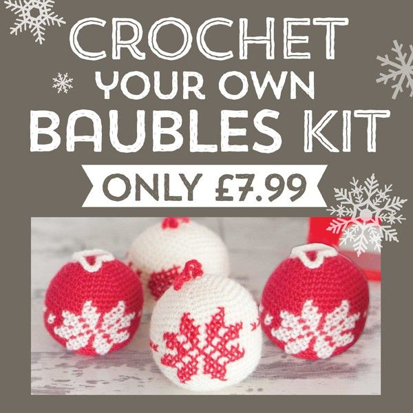 Scandinavian Style never fails to please at Christmas, and these easy-to-crochet baubles in classic red and white have real impact. Add dried scented orange rings and bundles of tied cinnamon sticks for an authentic Nordic look.