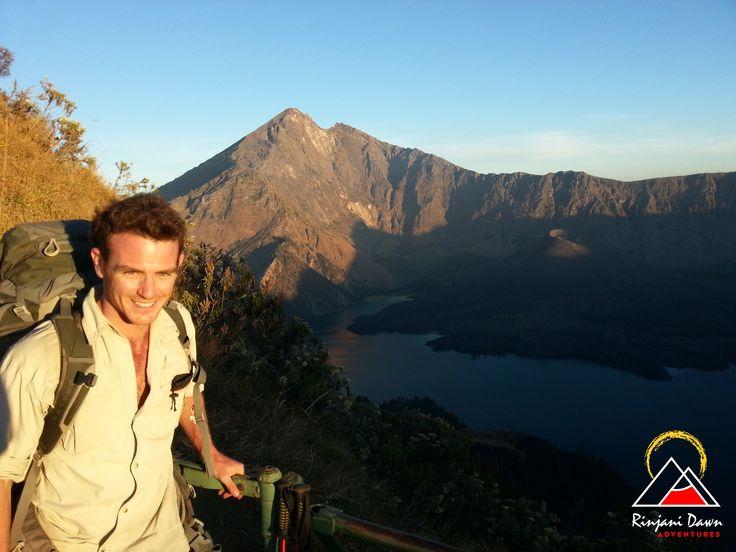 On the crater rim. Mt Rinjani & Segara Anak in the background