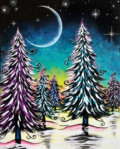 Whimsical tree painting in the snow with twirls, moon and stars. 7 West Bistro Paint Nite Event.