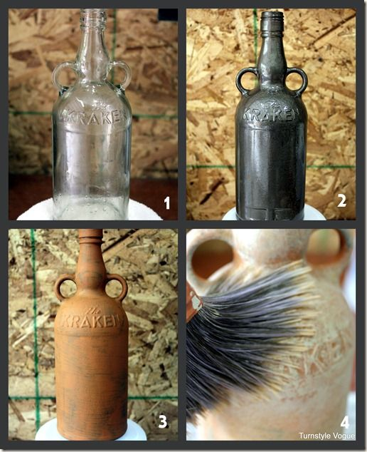 Make a bottle look like old pottery